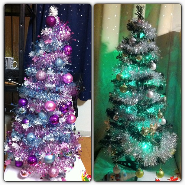 We decorated our christmas trees today pink blue one is - Pink and blue christmas tree ...