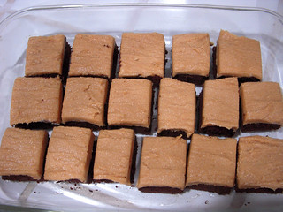11/21: Chocolate brownies with peanut butter frosting and sea salt. | by axmai