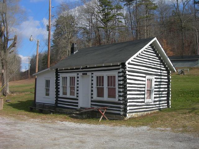 Black White Log Cabin Fall Rock Kentucky By