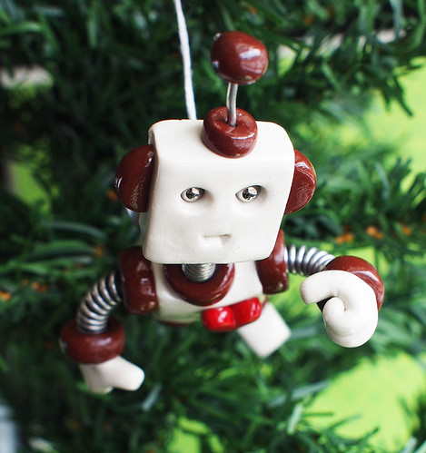 Brown Blinx JetPack Robot with Jetpack Christmas Ornament | by HerArtSheLoves
