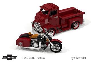 Chevrolet 1950 COE Custom & Harley-Davidson