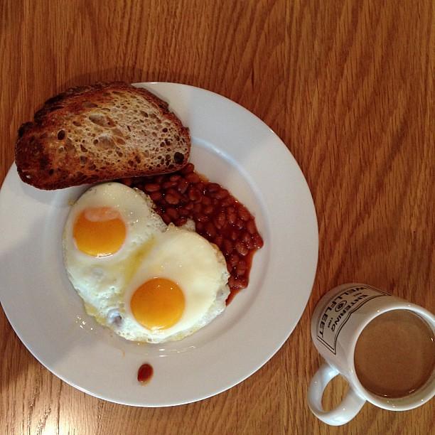 Baked beans. Eggs. Toast. Coffee. | Olga Massov | Flickr