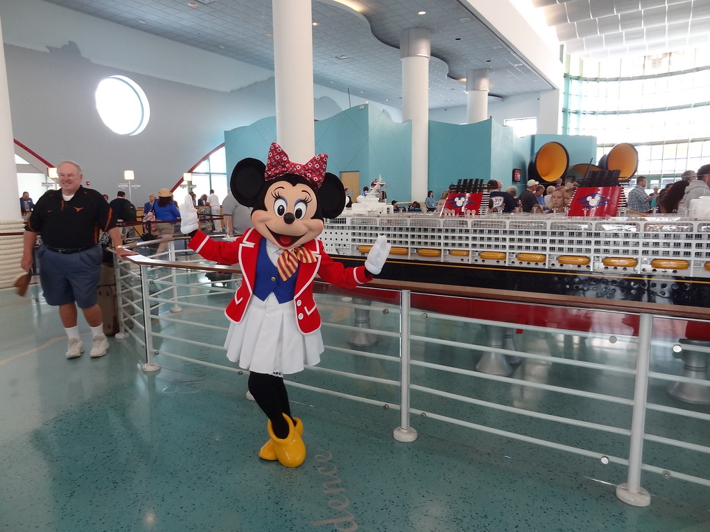 Meeting Minnie Mouse In The Disney Cruise Line Terminal In