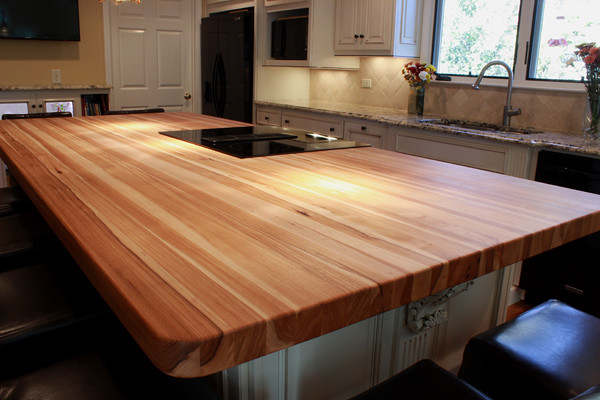 Custom Hickory Butcher Block Island Top Wood Species
