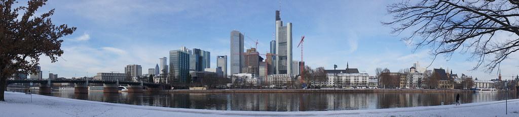 Frankfurt Frankfurt Am Main Snow Panorama The Main