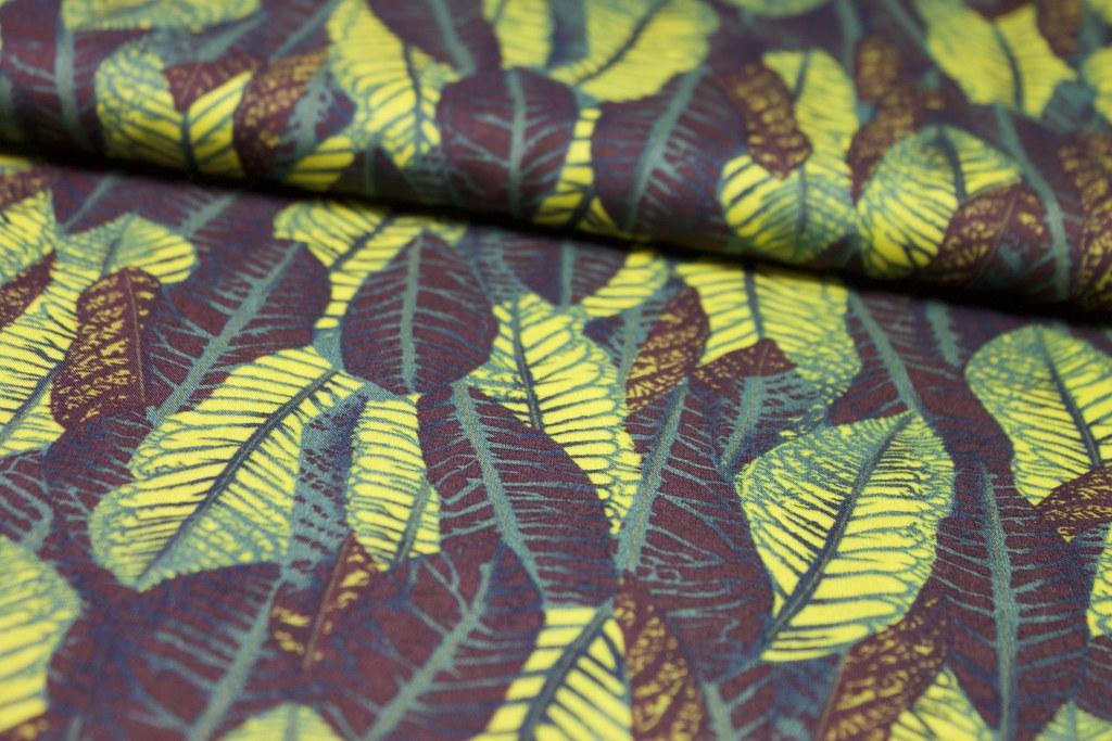 """Blusenstoff """"Blätterwald"""", gelb-grün-braun, Reststück 0,85m"""