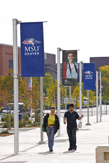Student Banners | MSU Denver students walk past banners ...