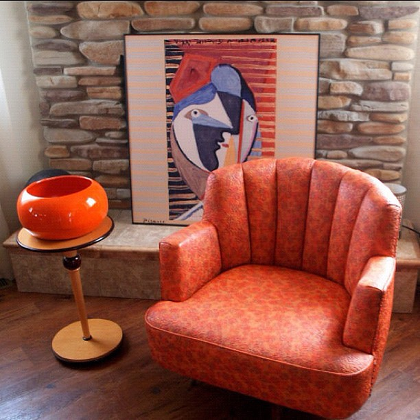 ... VINTAGE MID CENTURY Swivel Chair Upholsterd Orange Atomic Pattern Faux  Leather Arm Chair With Retro Scalloped