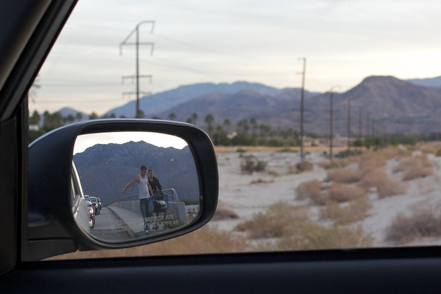"""Objects in mirror are closer than they appear"""
