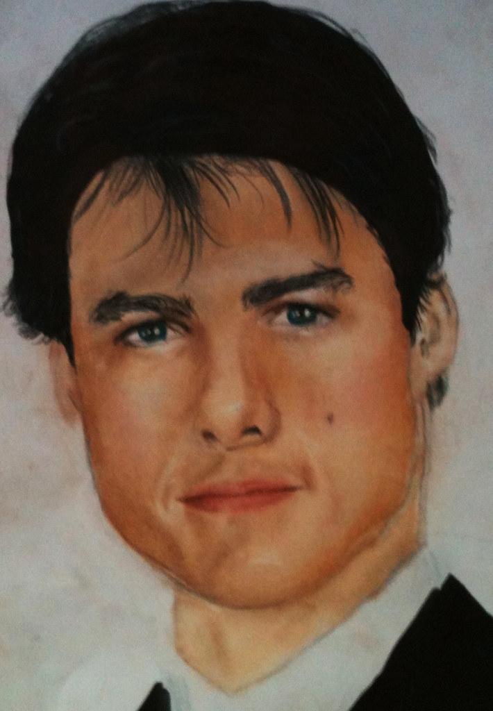 Tom Cruise | Giz pastel, marcador, lápis de cor, guache bran ... Tom Cruise