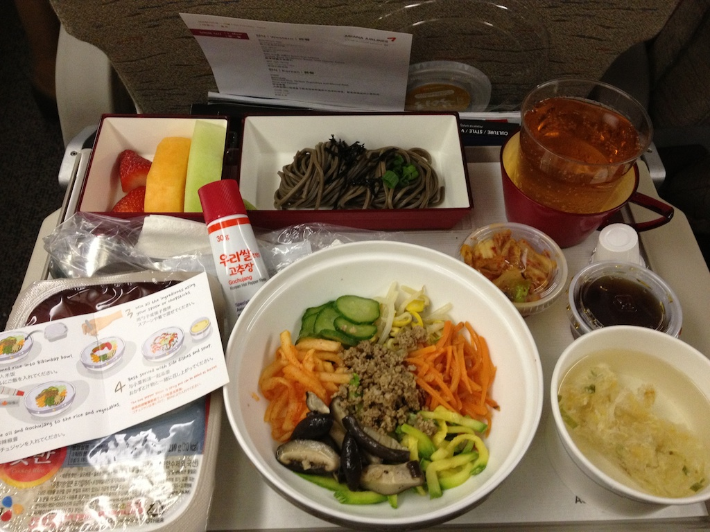Asiana airline sfo to icn economy class first meal bibimb for Asiana indian cuisine