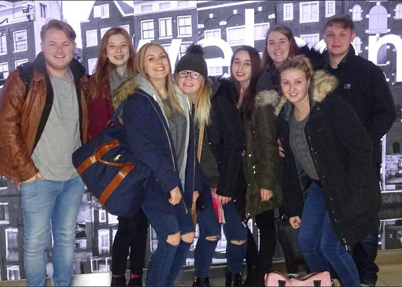 Students on arrival in Schiphol Airport Amsterdam