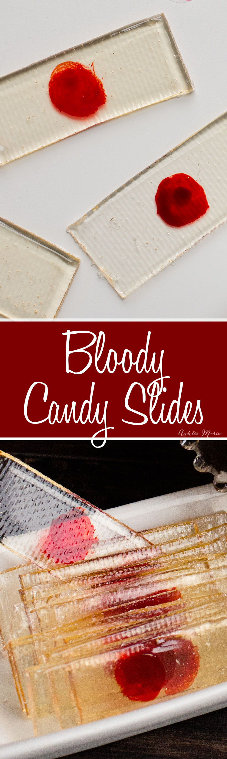 "perfect for a halloween party theses ""bloody"" slides are made of sugar and can be any flavor you want!"