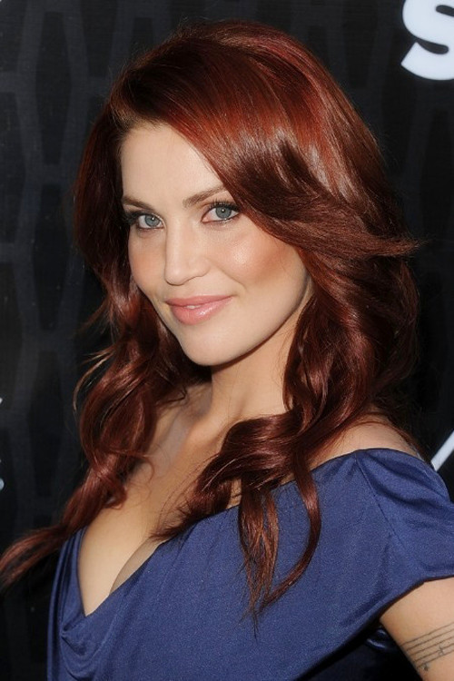 Long Wavy Red Hair With Side Bangs 2013 Hair Color