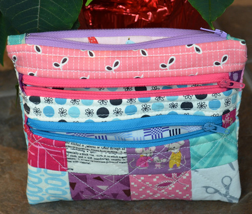 Triple Zipper Pouch | by shecanquilt