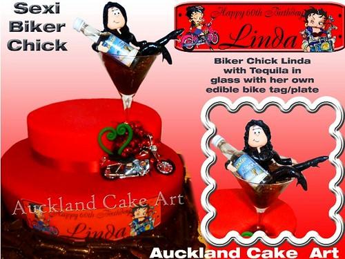 Biker Chick Birthday  Sexi Sexy Biker Chick Figurine In -9361