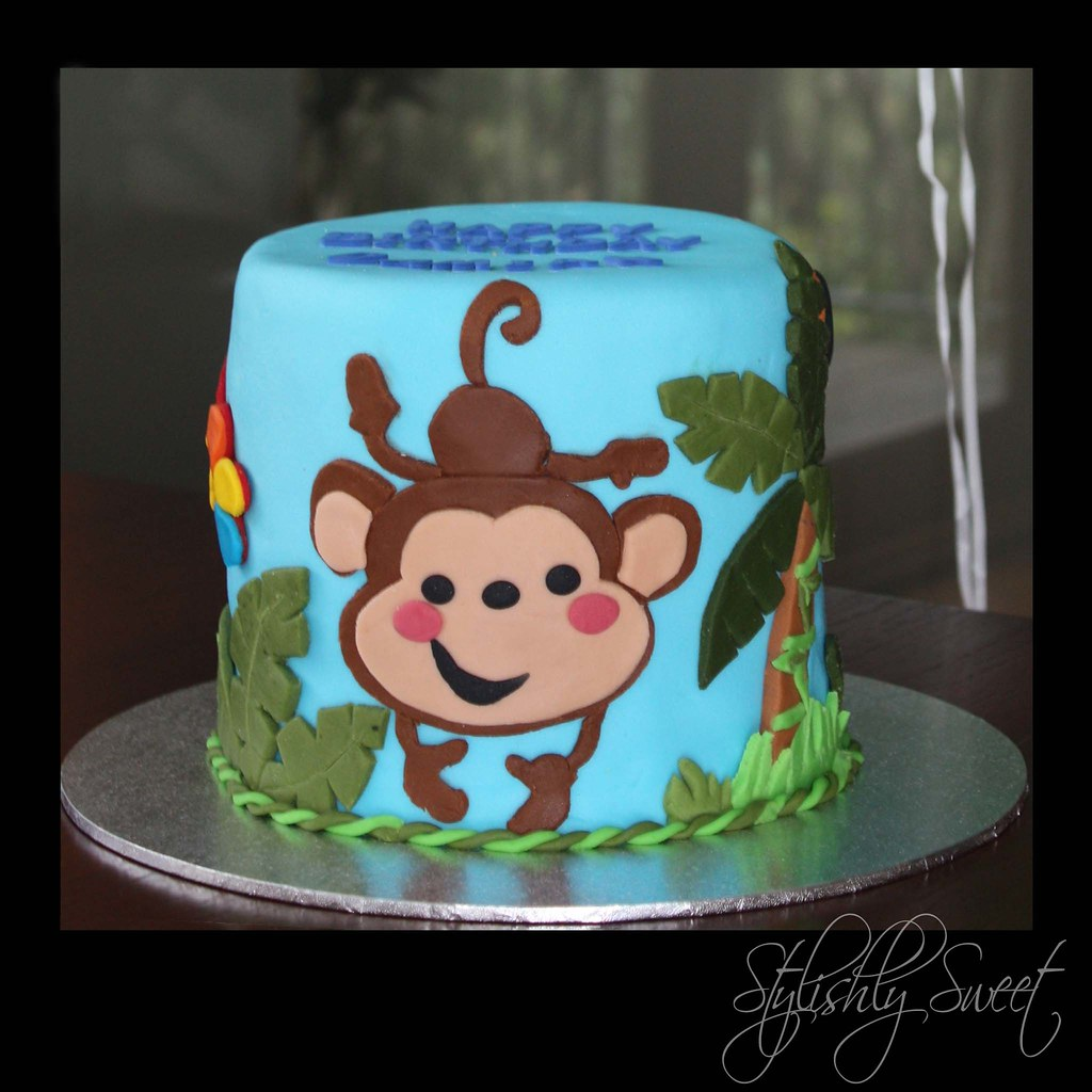 Cheeky Monkey 1st Birthday Cake Jungle baby themed birthda Flickr