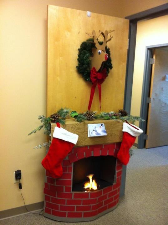 Christmas door decorating contest cardboard fireplace and for 3d snowman door decoration