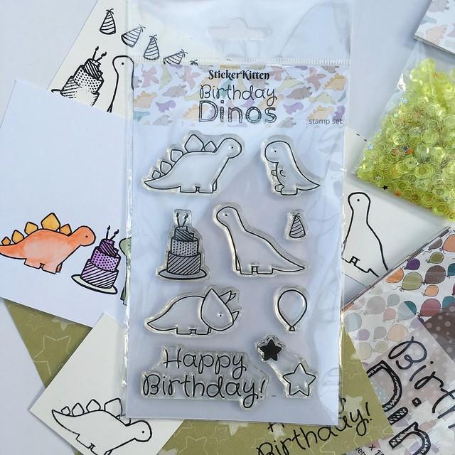 StickerKitten Birthday Dinos Photopolymer Stamps