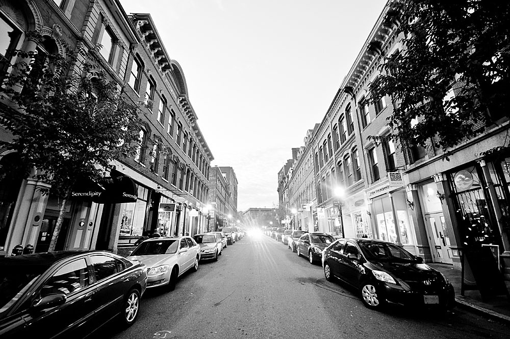 A City Street | A recent black & white view of Exchange ...