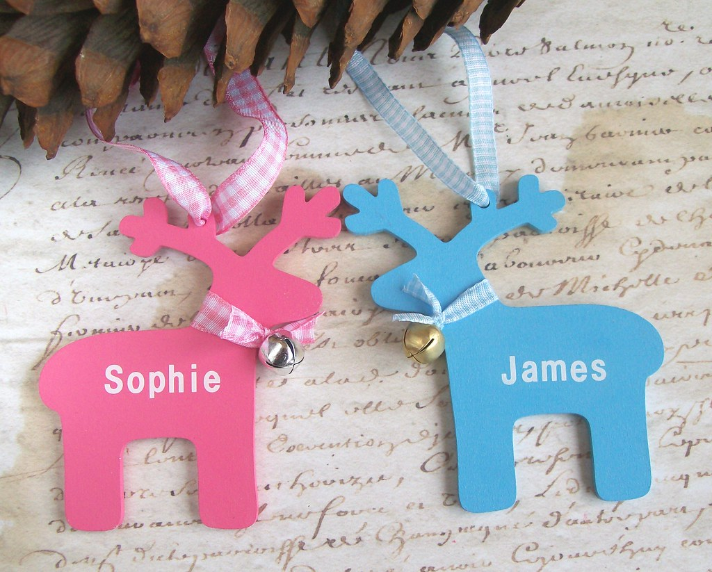 Custom name ornaments -  Custom Name Wooden Reindeer Christmas Ornaments With Bell By Art Angel 1