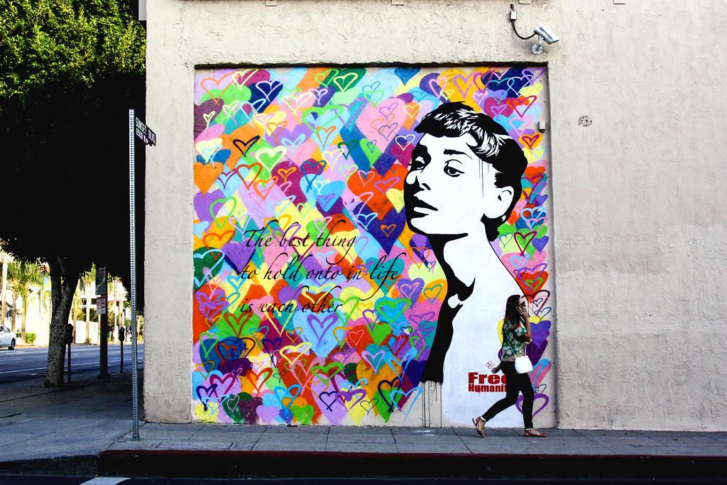 Free humanity audrey hepburn mural commissioned free for Audrey hepburn mural