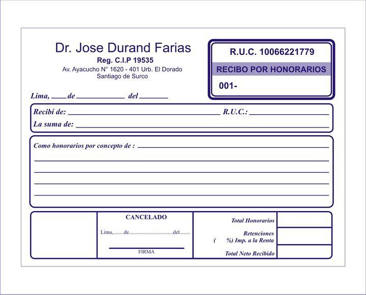 Recibo Por Honorarios 2 Urgentes Facturas Delivery A Domic