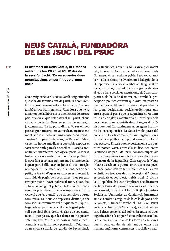"""""""Neus Català, fundadora de les JSU i del PSUC"""" per Elisenda Belenguer"""