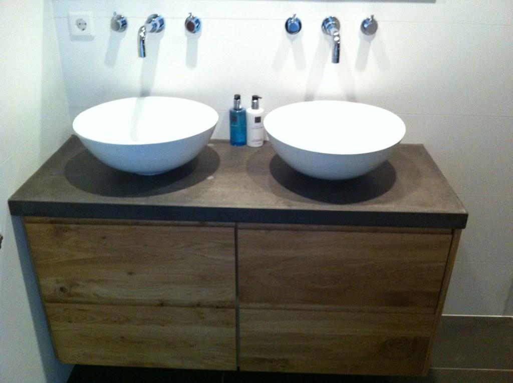 Ikea badkamer meubel met nieuwe fronten en betonnen blad flickr - Badkamer badkamer meubels ...