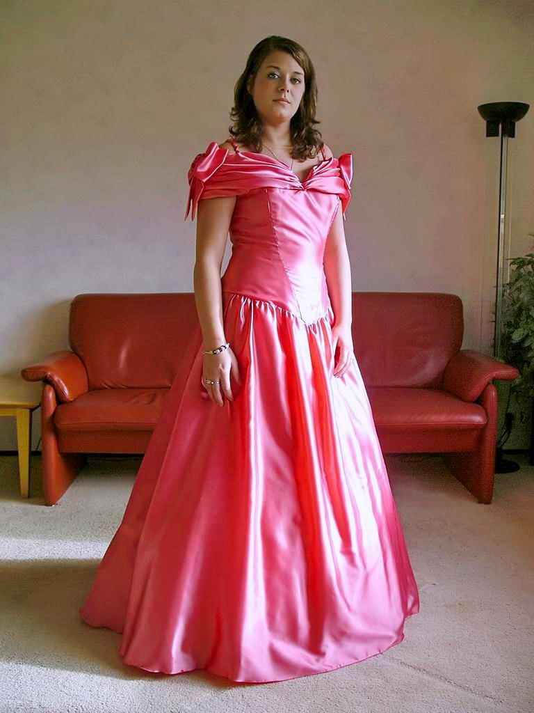 Pink ball gown | Her satin ball gown has a lovely salmon pin… | Flickr