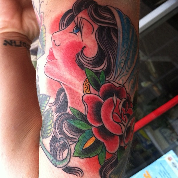 Gypsy girl head rose pinup traditional americana t for Traditional americana tattoos