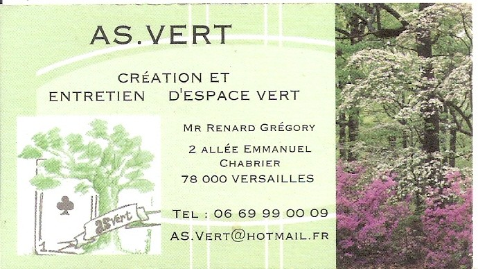 carte de visite gregory renard jardinier paysagiste versai. Black Bedroom Furniture Sets. Home Design Ideas