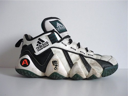 90`S VINTAGE ADIDAS KEYSHAWN JOHNSON EQUIPMENT FEET YOU WEAR HI SHOES / HI TOPS / TRAINERS | by aucwd