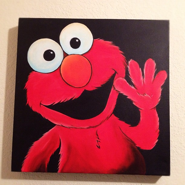 Elmo acrylic painting on Gallery Canvas 12x12 selling for … | Flickr