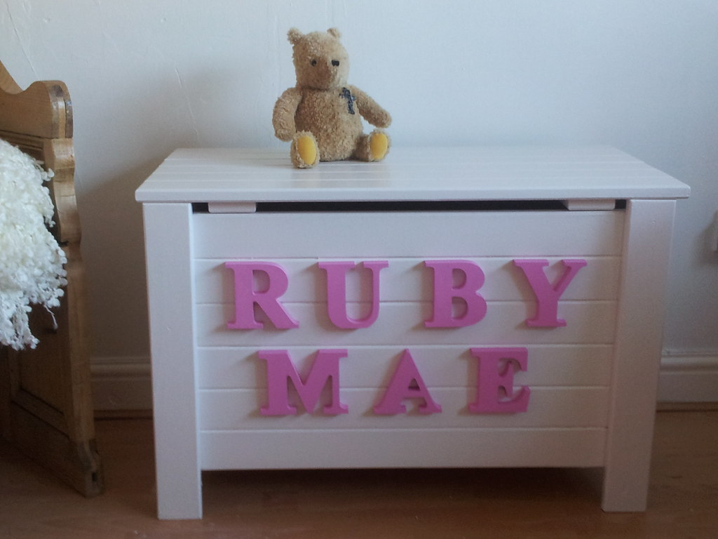 little girls toy box option 2 pink white toy box unique items by happy hopes flickr. Black Bedroom Furniture Sets. Home Design Ideas