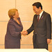 UN Women Executive Director Michelle Bachelet greets Japanese Prime Minister Yoshihiko Noda on the first day of her official visit to Japan from 12 to 14 November 2012