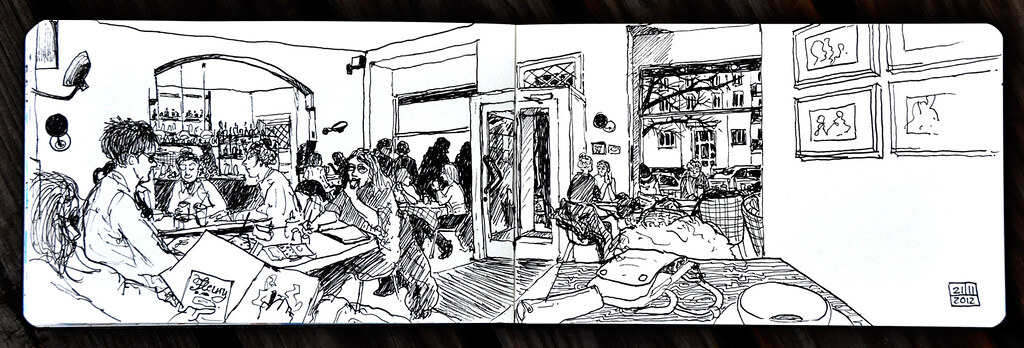 cafe fleury berlin sketching with k one of the berlin. Black Bedroom Furniture Sets. Home Design Ideas