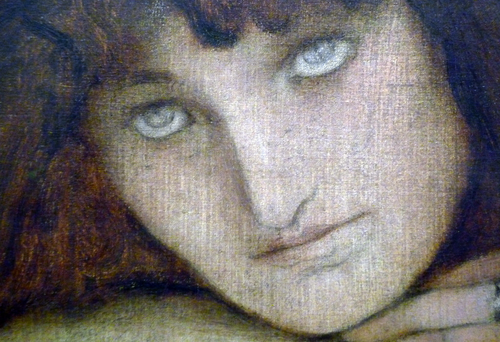 Fernand Khnopff, I Lock the Door Upon Myself, detail with ...