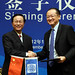 World Bank President Jim Yong Kim with Chinese Minister of Finance Xie Xuren