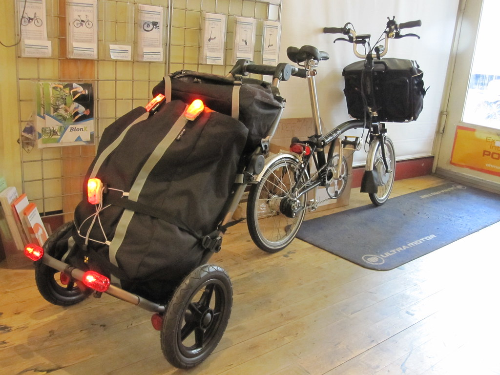 Electric Brompton With Burley Travoy Bike Trailer