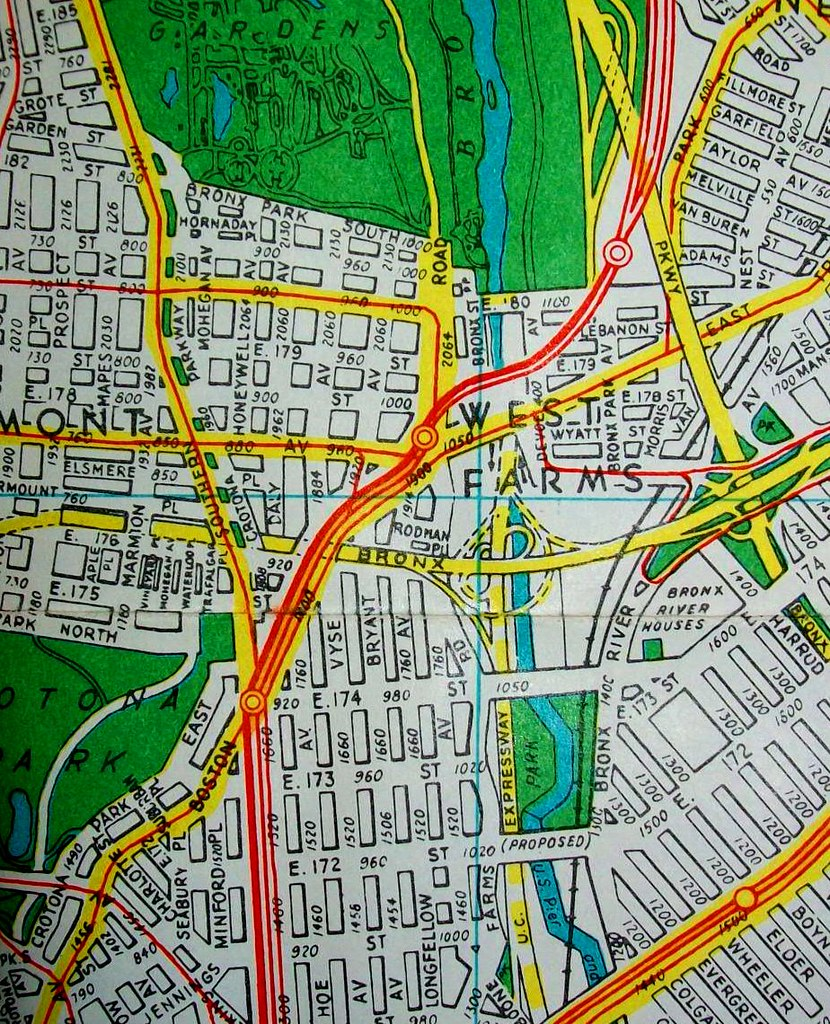 Bronx NY 1959 Map by Hagstrom Maps Several of the freeway Flickr