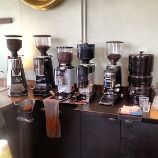 Offering choices in SO espresso means staging a lot of grinders. Coffee Alchemy | by sweetmarias