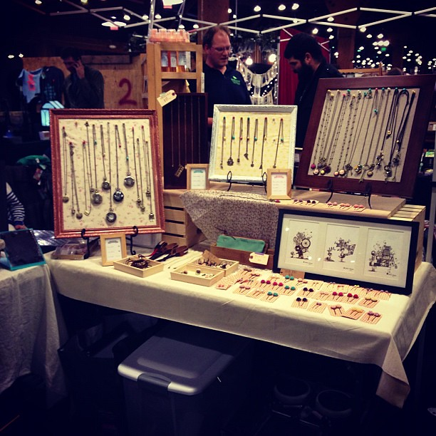 Our booth with my handmade jewelry display aggie cheung for Display necklaces craft fair