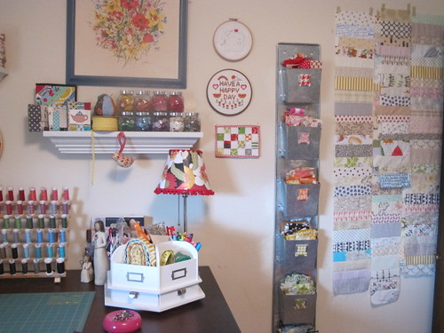 Sewing room organization i hung up this galvanized organiz flickr - Small space craft room model ...