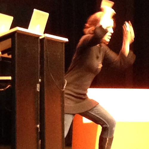 Cindy Chastain busts out a TV cop move at #inspireconf . | by Jeffrey