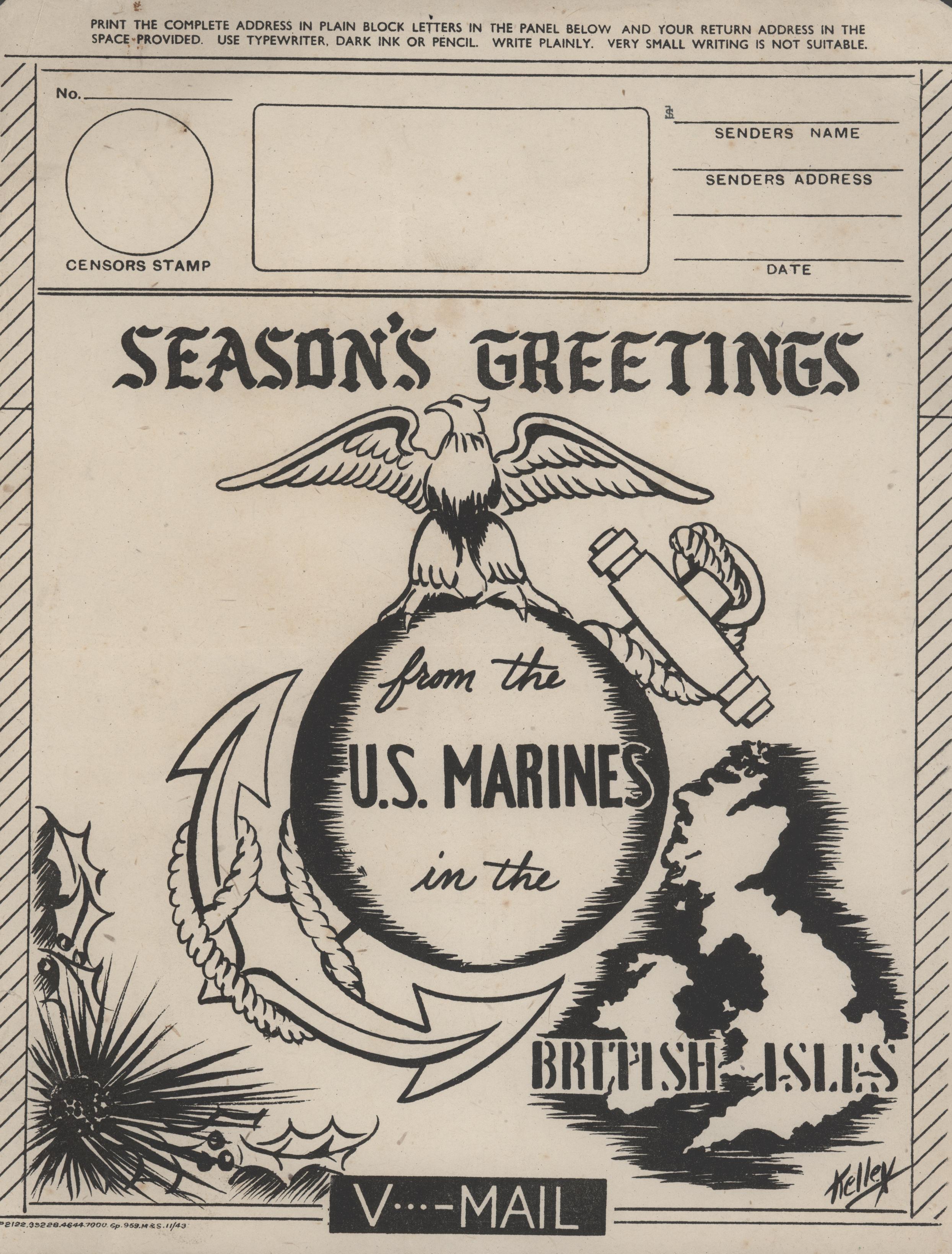 United States Marine Corps V-mail - 1943