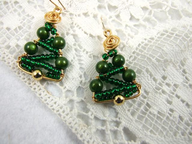 Handmade christmas tree earrings green rolled gold