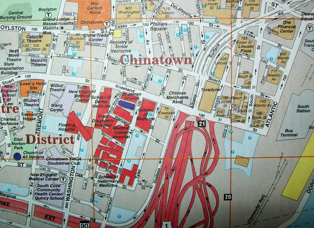 Downtown and Chinatown Boston MA 1999 | Map by Arrow Maps