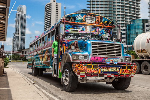 "A ""red devil"" bus in Panama City 