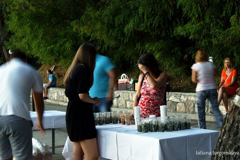 Стол с угощениями на четвертом летнем фестивале в Топле